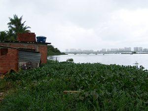 Homes at Vila Autódromo on the edge of the lake
