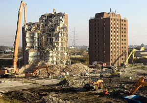 Tower blocks demolished in east London