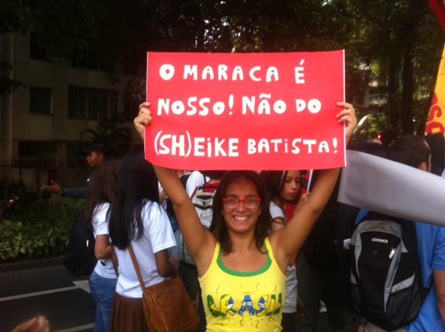 """Protestor against Maracana's """"handover"""" to businessman Eike Batista"""