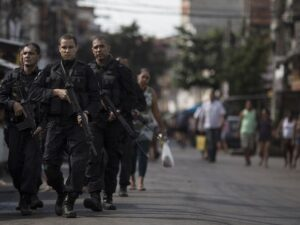 BOPE officers patrolling Maré. Photo by Felipe Dana/AP