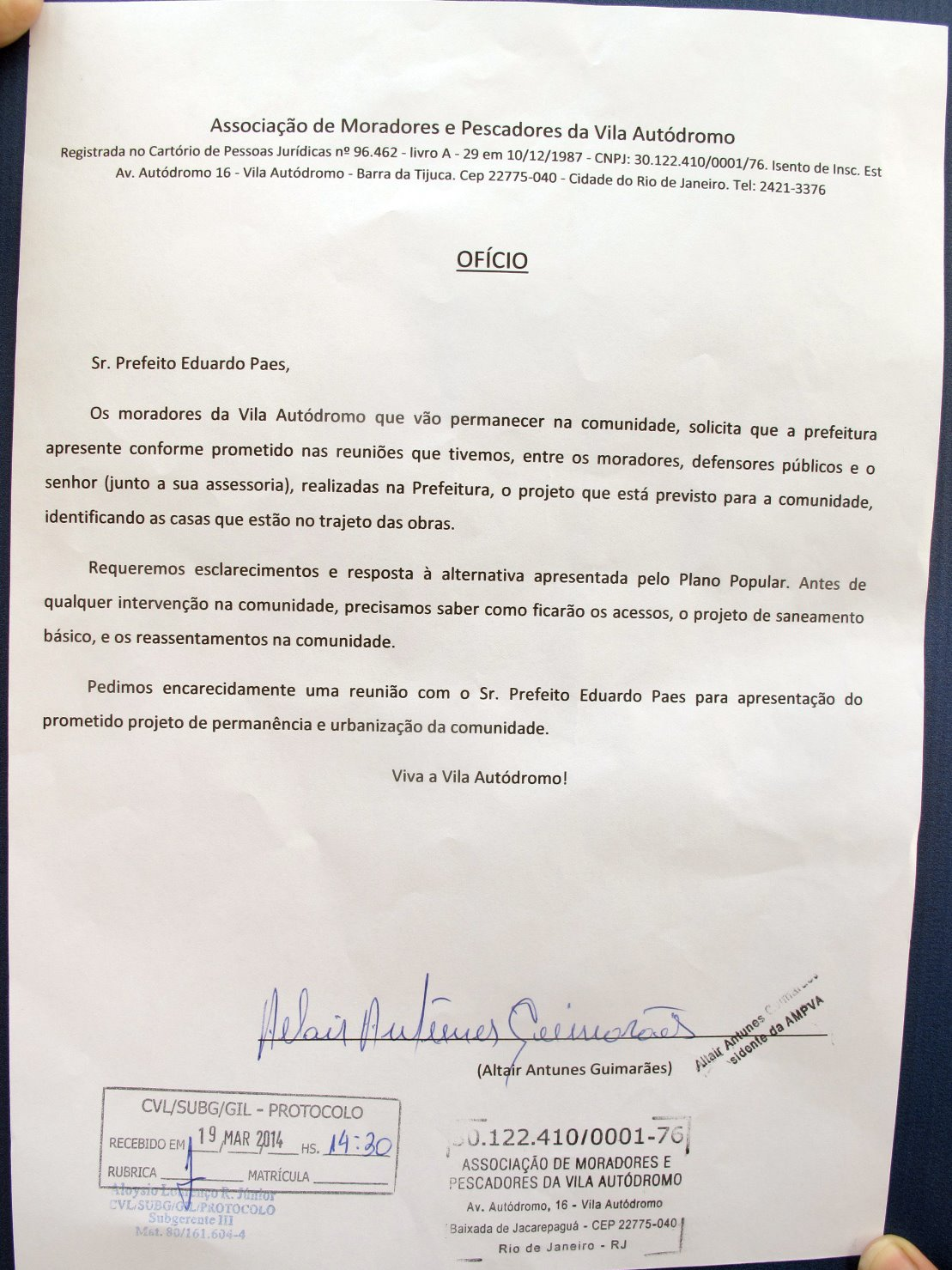 Nota to Prefeitura, Credit: Comitê Popular Rio