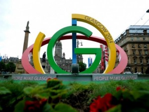 The Glasgow 2014 Commonwealth Games logo installation in the city