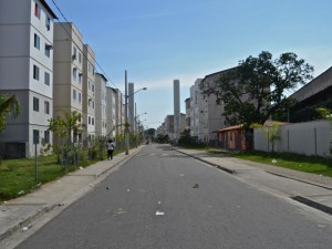 Five story apartment buildings fill the streetscape in Bairro Carioca