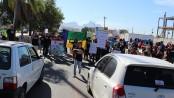 Demonstrators Confront Traffic