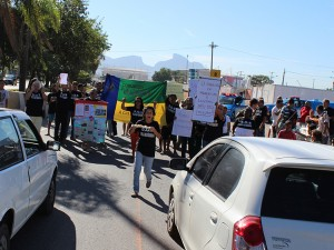 Demonstrators Confront Traffic