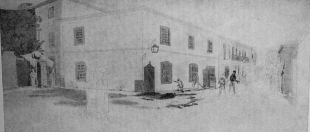 """O Aljube"", later called Prison of Relations, in Prainha Street (currently Acre Street). The figure imprisoned to the right suggests which part of the population that, even at that time, was criminalized and incarcerated. Drawing by Thomas Ender (c. 1817)."
