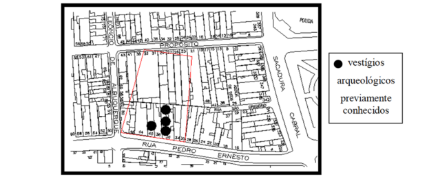 The New Blacks Cemetery - Location in registered plan of measures in the 1871 plan. Source: Tavares, Reinaldo Bernardes. New Blacks Cemetery: an attempt at spatial delineation (2012).