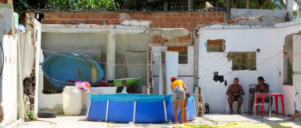 Demolished lot now home to swimming pool in Vila Autódromo, very welcome during these hot summer months.