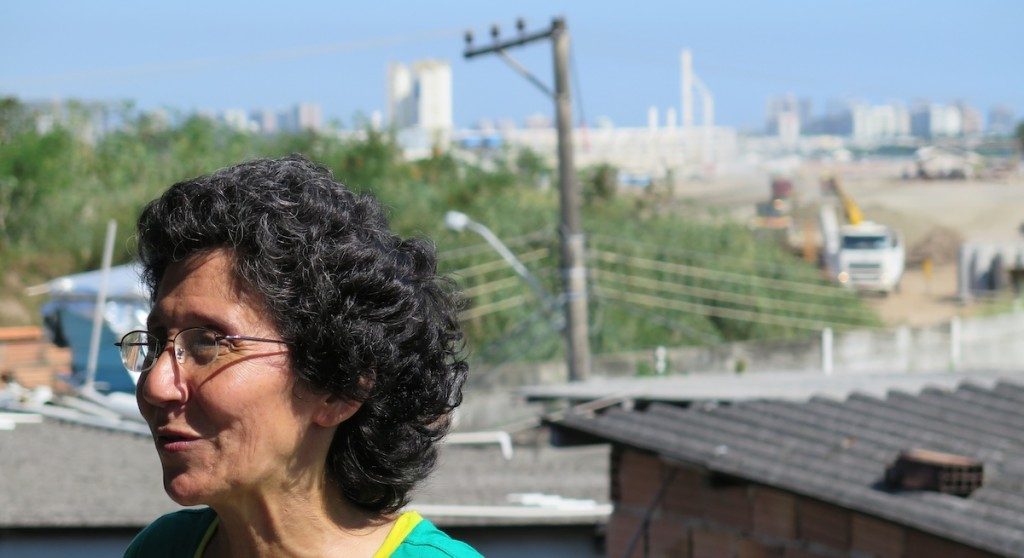 Maria da Penha looks out from her rooftop