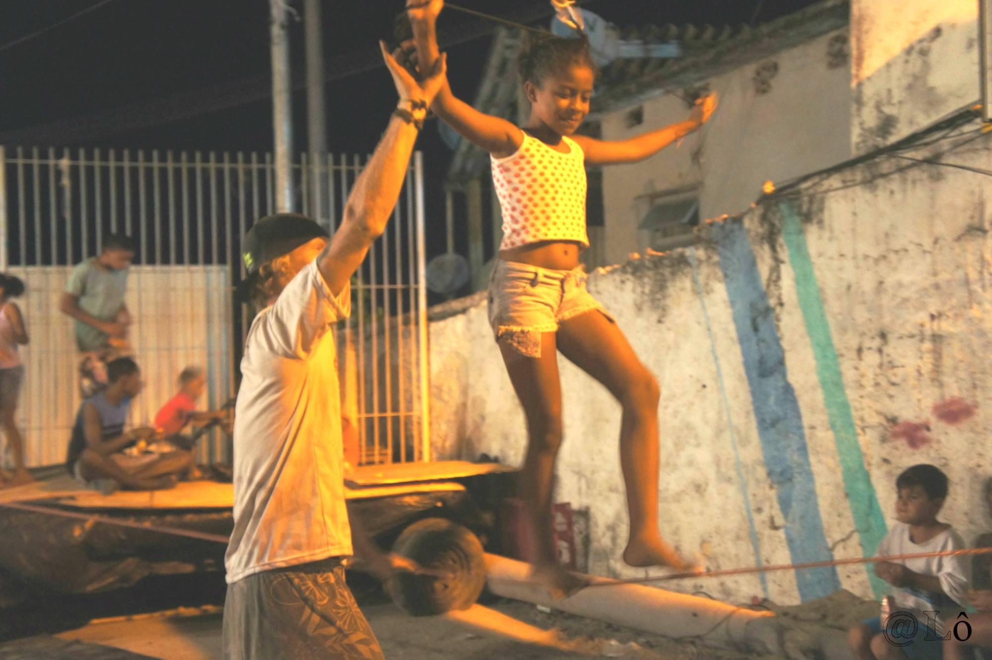 Children try the slackline activity. Photo: Lorraine Gaucher-Petitdemange