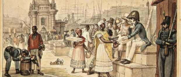 Jean-Baptiste Debret painting shows slaves and guards interacting in Rio. Photo by Museu Chácara do Céu