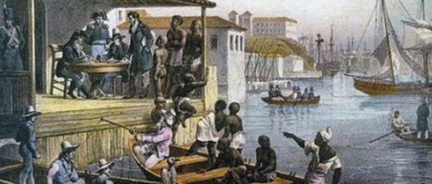 Landing of slaves in Cais do Valongo, painted by Rugendas in 1835. Photo from blackwomenofbrazil.co