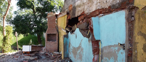 The damage done to Pedro's house by the City's bulldozers, in Vila Autódromo