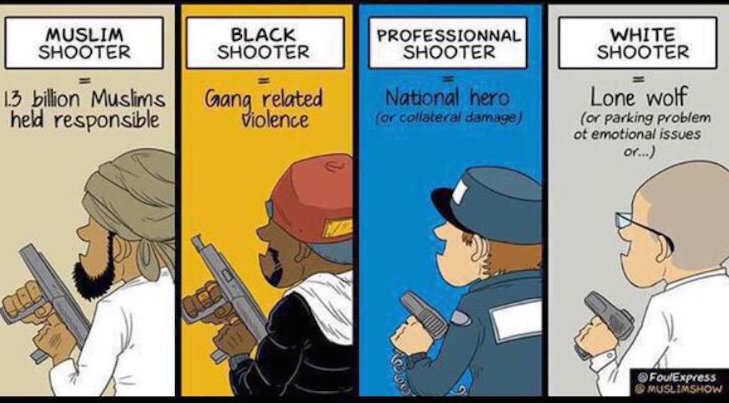 Ilustração twittada esta semana ilustrando a percepção racial de criminosos nos EUA.