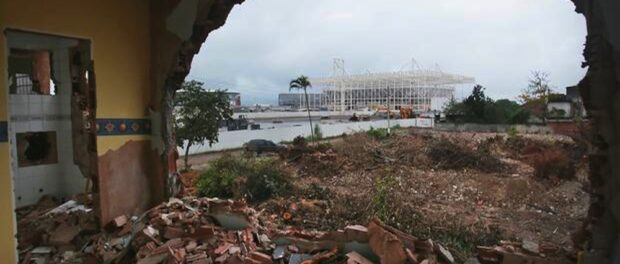 Demolished home with a view of the Olympic Park. Photo by The Independent