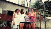 Jane Nascimento, her daughters and niece, on the day of her eviction (1 August 2015)