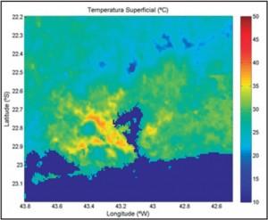 Average Superficial Continental Temperature in summer at 1pm UTC (10am Rio time).