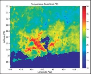 Average Superficial Continental Temperature in summer at 4pm UTC (1pm Rio time).