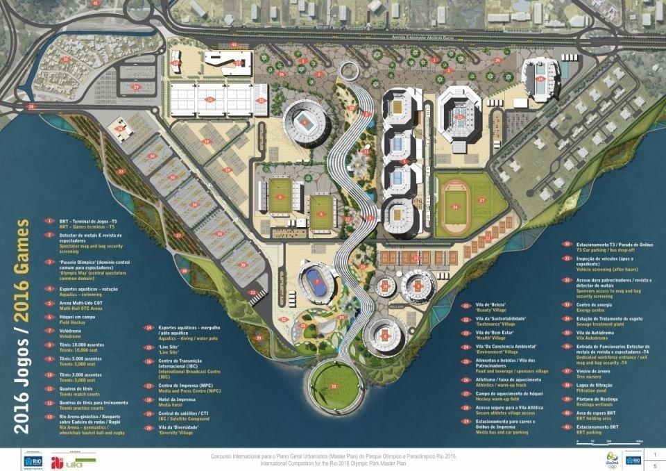 Plano da AECOM para o Parque Olímpico em 2016