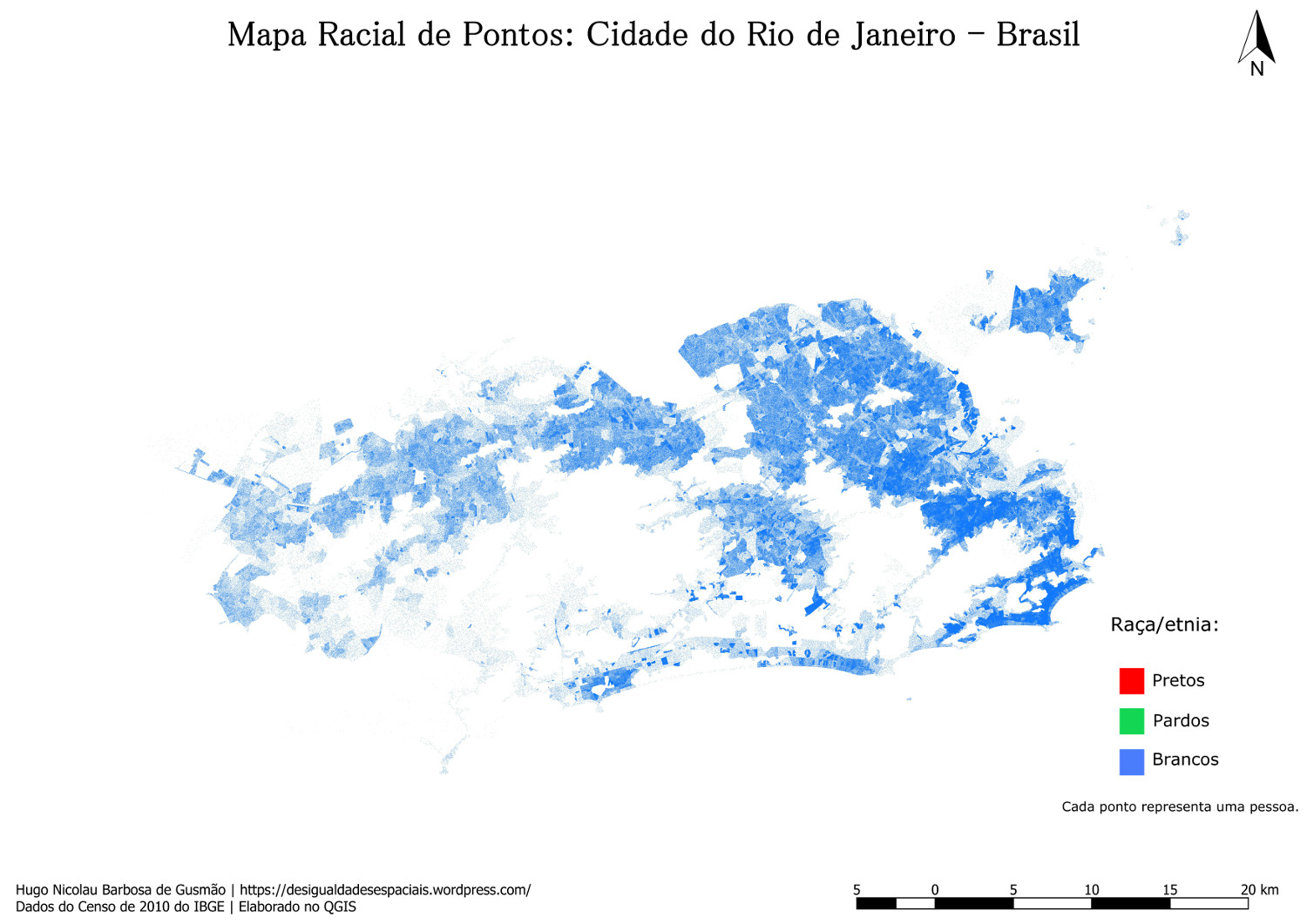 Map showing distribution of whites in the city of Rio de Janeiro