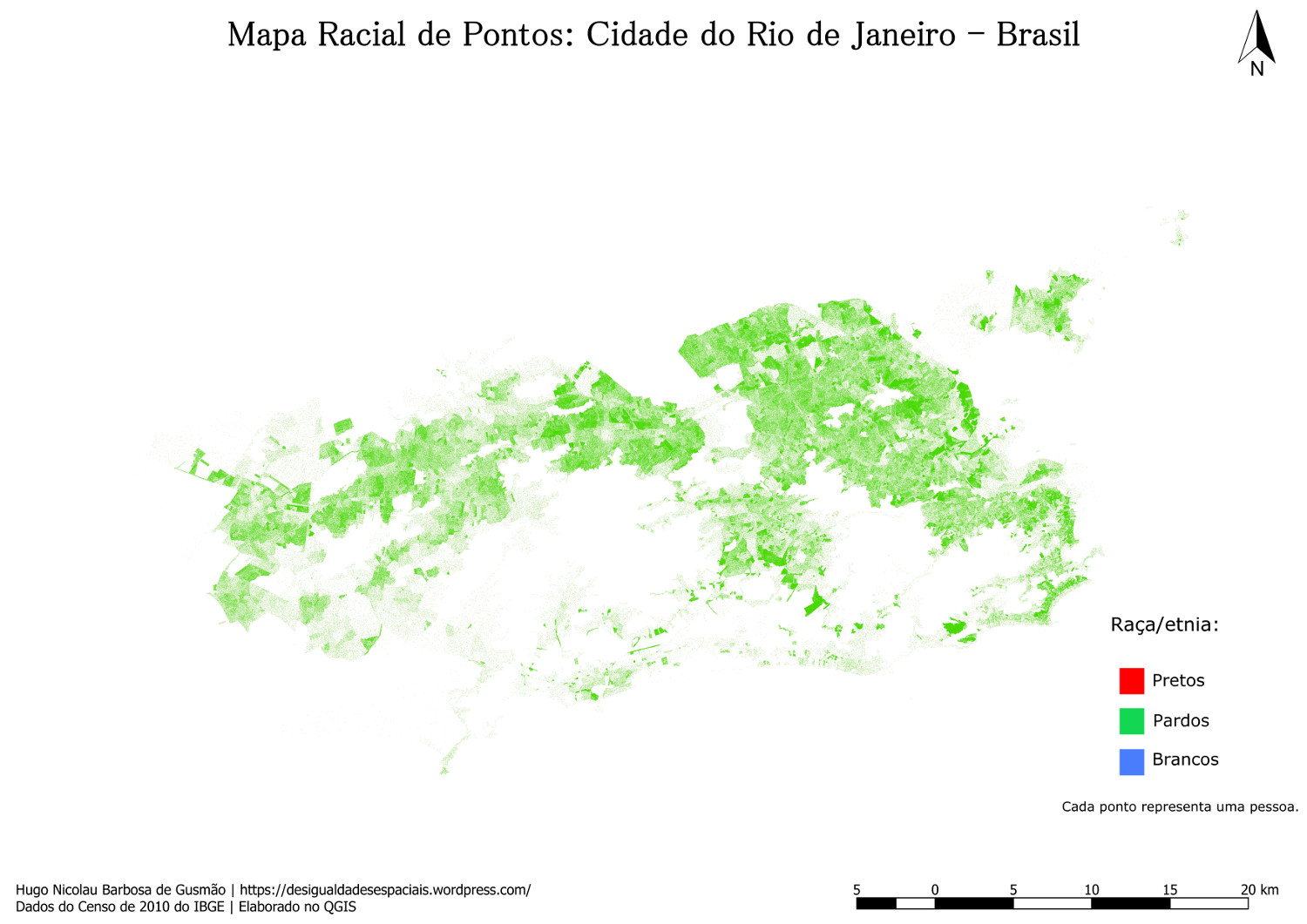 Map showing distribution of brown or mixed race people in the city of Rio de Janeiro
