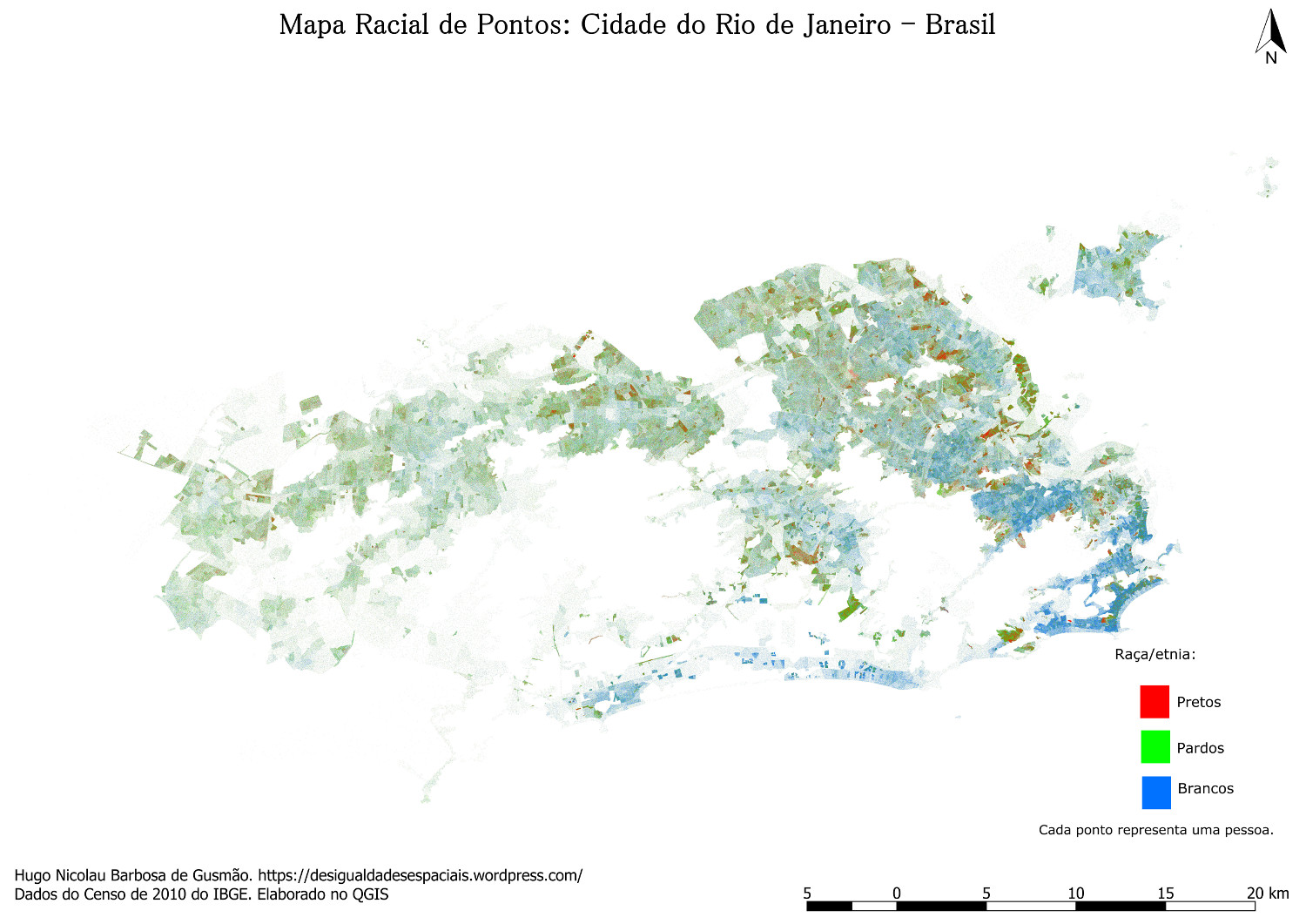 Map showing racial distribution of whites, browns and blacks in the city of Rio de Janeiro