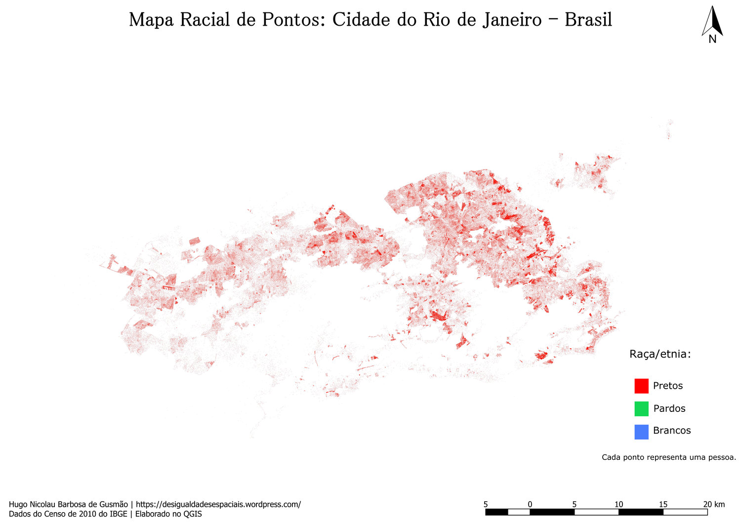 Map shows distribution of blacks in the city of Rio de Janeiro