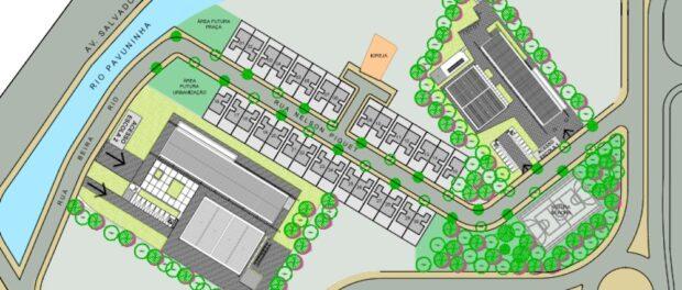 City's original plan for Vila Autódromo presented on March 8. Image from Rio City Government.