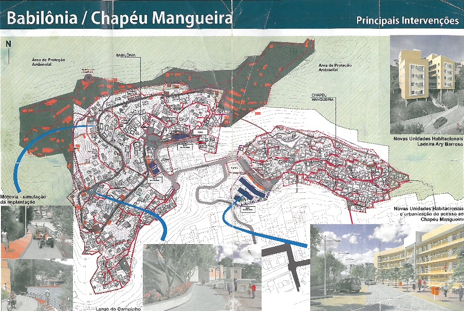 City map detailing plans for the main interventions through Morar Carioca; this map was among materials displayed during the international Rio+20 conference in 2012