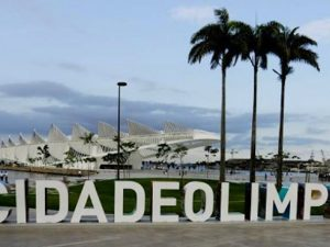 "Museum of Tomorrow behind the ""Olympic City"" letters in the Port Zone. Photo by Daniel Ramalho/RIO2016."