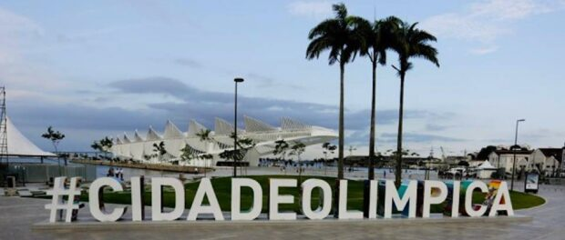 """Museum of Tomorrow behind the """"Olympic City"""" letters in the Port Zone. Photo by Daniel Ramalho/RIO2016."""