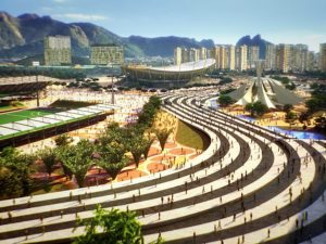 Visualization of the Olympic Park. Image from CidadeOlimpica.com.br