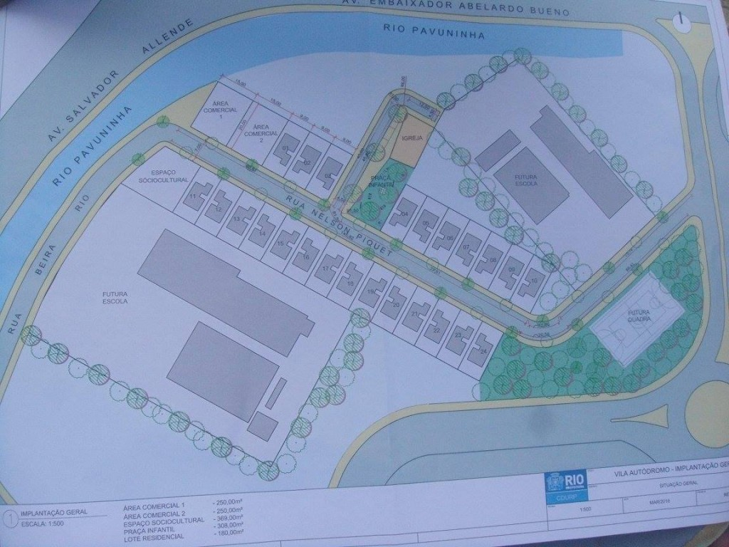 The plan agreed by residents and the City. Photo courtesy of the Vila Autódromo Facebook page