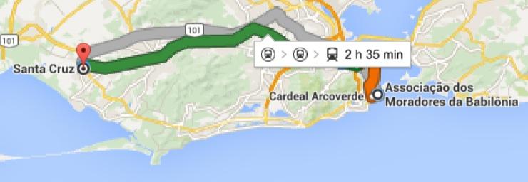 Google Maps estimates the journey between Santa Cruz and Babilônia takes 2 hours and 35 minutes on public transportation