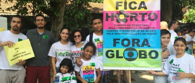 Residents protest against the influence of media giant Globo in the evictions