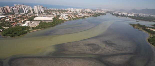 """""""The end of a lake."""" Mario Moscatelli's photo from above Barra da Tijuca, posted on Facebook February 16, 2016."""