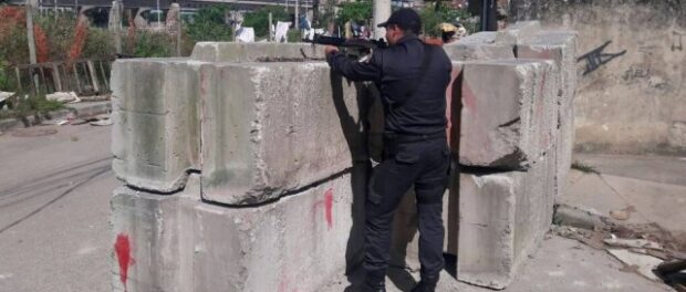 Military Police installed cement barricades around the base of the UPP in Manguinhos