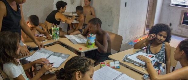 The occupation runs classes and activities for children. Image from Ocupação Vito Giannotti Facebook page