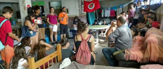 The Occupation receives guests and supporters to spread the word about their fight. Image from Ocupação Vito Giannotti Facebook page