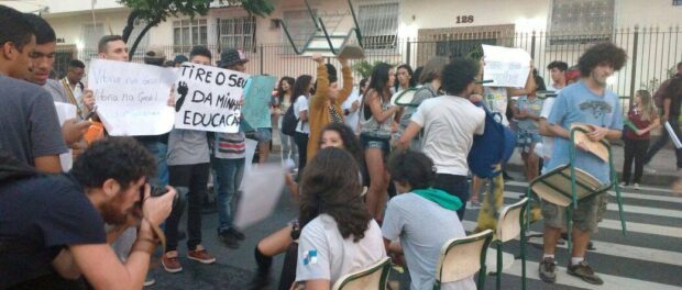 Students blocked roads throughout the city of Rio