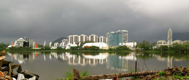 The view across the lagoon from Vila Autódromo