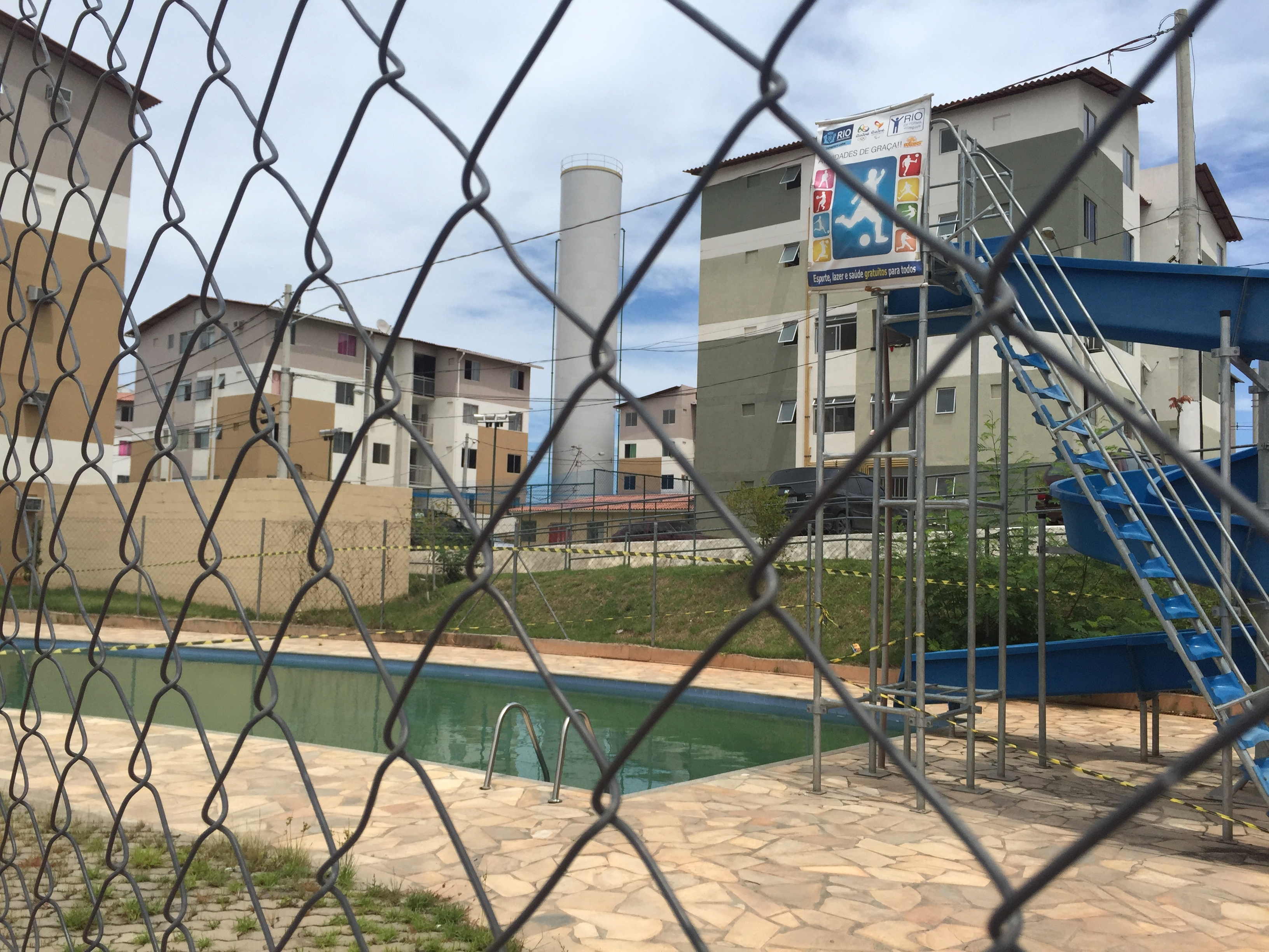 The oft-touted swimming pool has remained full of algae and unusable for many months now. Residents were told by the City that they now must maintain it themselves.
