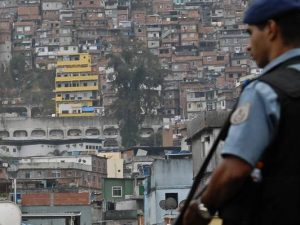 Military police officer at the inauguration of the Rocinha UPP in 2012. Photo by Tania Rêgo/Agência Brasil