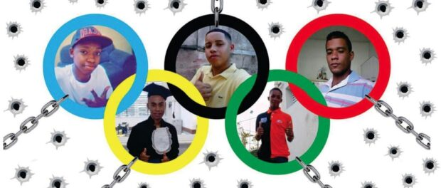 Five youth killed by police in Costa Barros, framed in Olympic rings. Image from Basta rj Facebook page