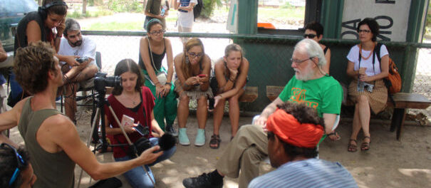 The children's park was created through a participatory project and was one of the areas that has been removed. Among the visitors to the park was the British geographer David Harvey, who came to Vila Autódromo on the March 12, 2016. Photo by Miriane Peregrino.