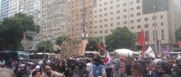 Police at education protest in Rio de Janeiro.