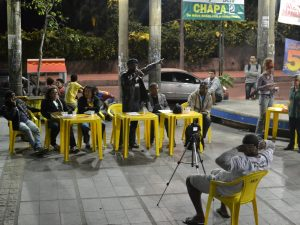 Candidates at Vidigal Neighborhood Association election debate. Photo by Mathilde Mouton.