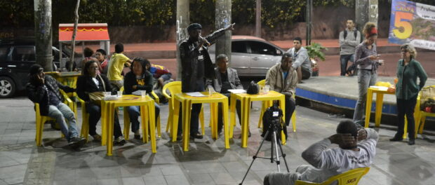 Candidates at Vidigal Neighborhood Association election debate. Photo by Mathilde Mouton.