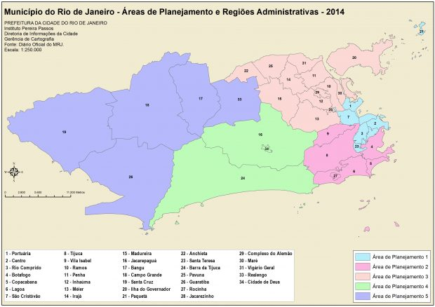2014 map showing the five different Planning Areas, which are formed of 34 Administrative Regions