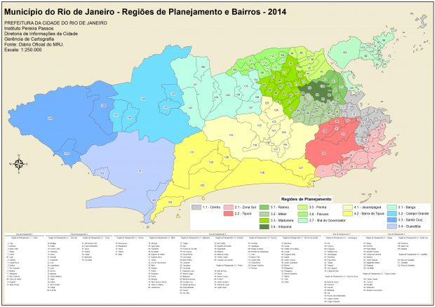 2014 map showing the 16 different Planning Regions and the 158 neighborhoods within them.